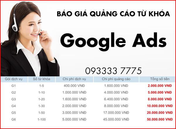 Bảng giá quảng cáo từ khóa Google Ads